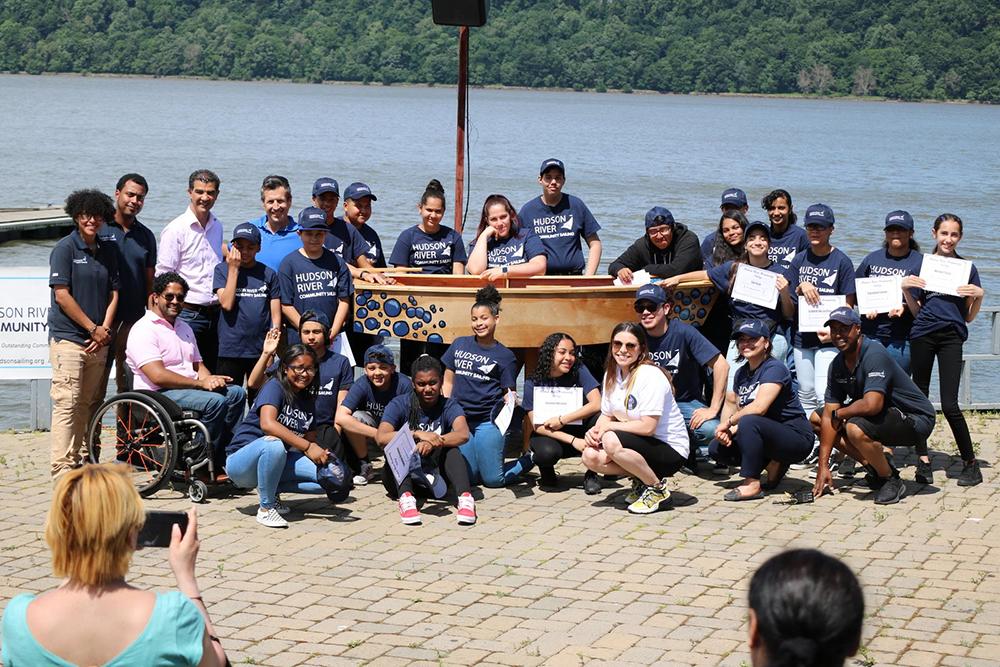 Sail Academy Inwood, student built Opti returns to the river. Photo credit: Hudson River Community Sailing