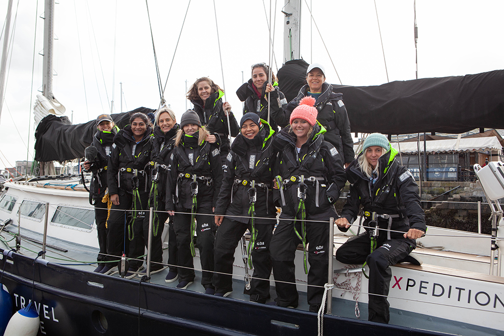 eXXpedition Round the World Voyage, departure from Plymouth U.K. on October 8, 2019, aboard S.V. TravelEdge. Credit: Sophie Bolesworth / eXXpedition