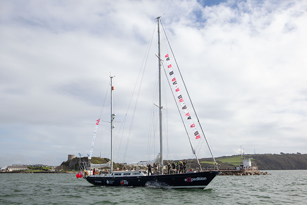 eXXpedition Round the World Voyage, departure from Plymouth U.K. on October 8, 2019, aboard S.V. TravelEdge. Credit: Sophie Bolesworth/eXXpedition