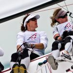 Ambassador Elizabeth Kratzig, sailing aboard the Elliot 6M while campaigning for the 2008 Olympics. Credit: Amory Ross | 11th Hour Racing