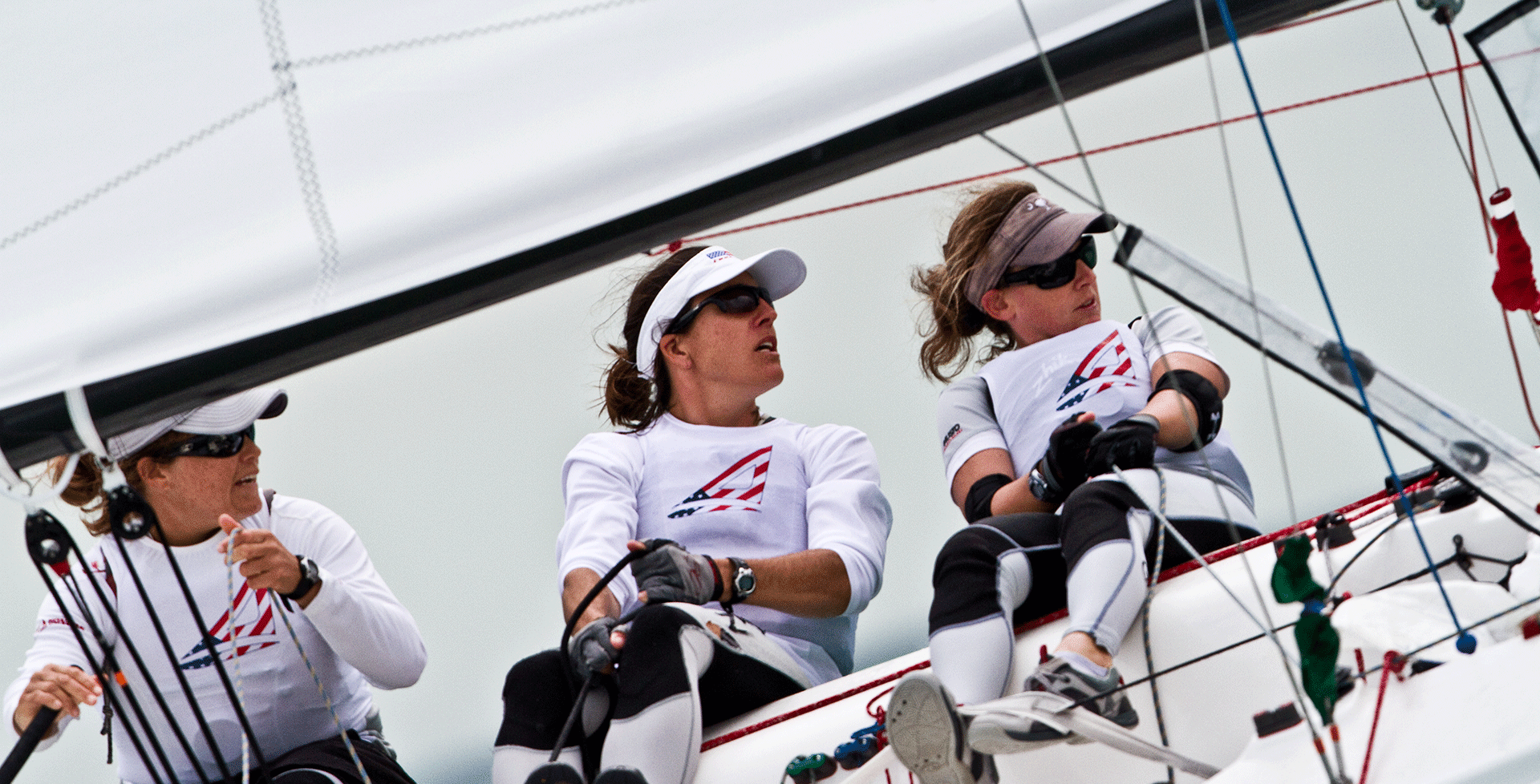 Ambassador Elizabeth Kratzig, sailing aboard an Elliot 6M while campaigning for the 2008 Olympics. Credit: Amory Ross