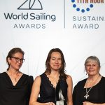 Kate Fortnam, RYA Campaigns Manager at the RYA, received the Award from World Sailing Vice-President Jan Dawson and Jill Savery, Sustainability Director, 11th Hour Racing. Credit: World Sailing