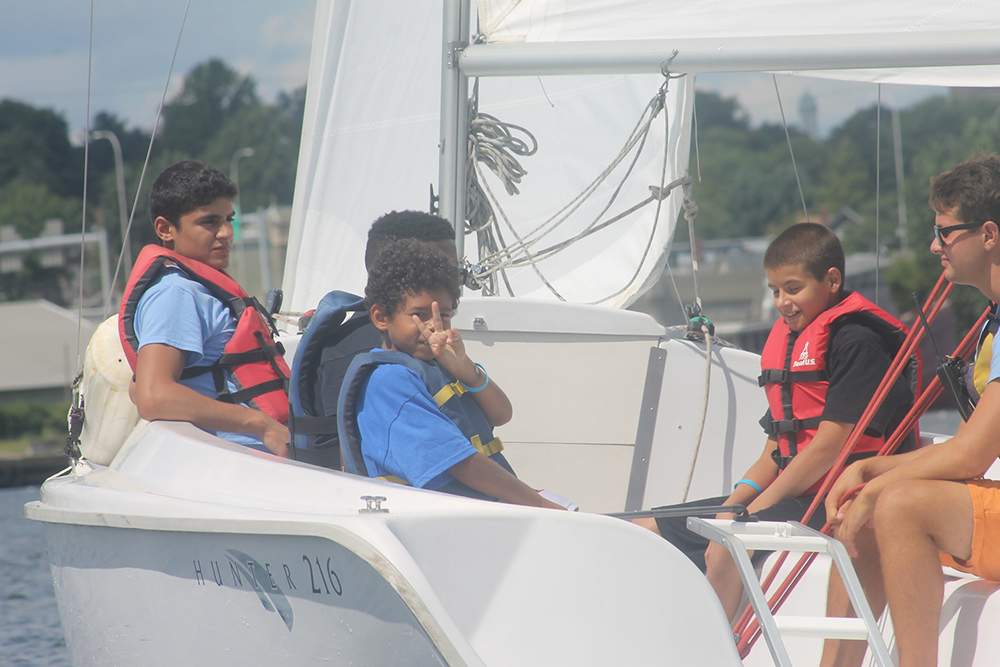 CBC students sailing in Providence. Photo credit: Community Boating Center Providence