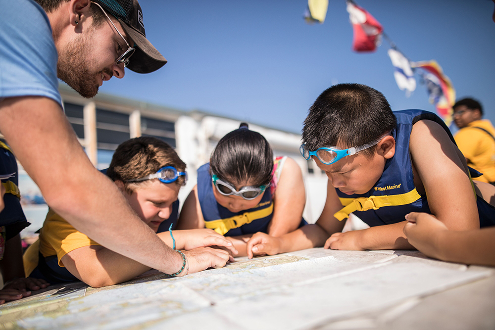 Swim Sail Science in Boston, MA. Photo credit: Courageous Sailing