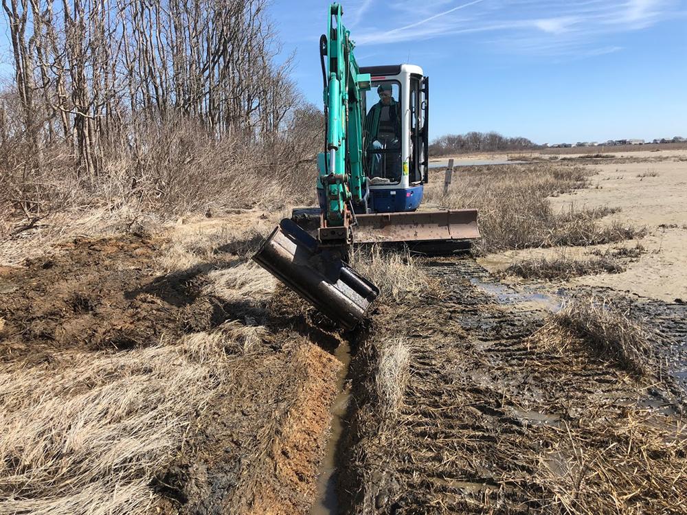 Salt Marsh Adaptation, runnel excavation. Photo credit: Save The Bay