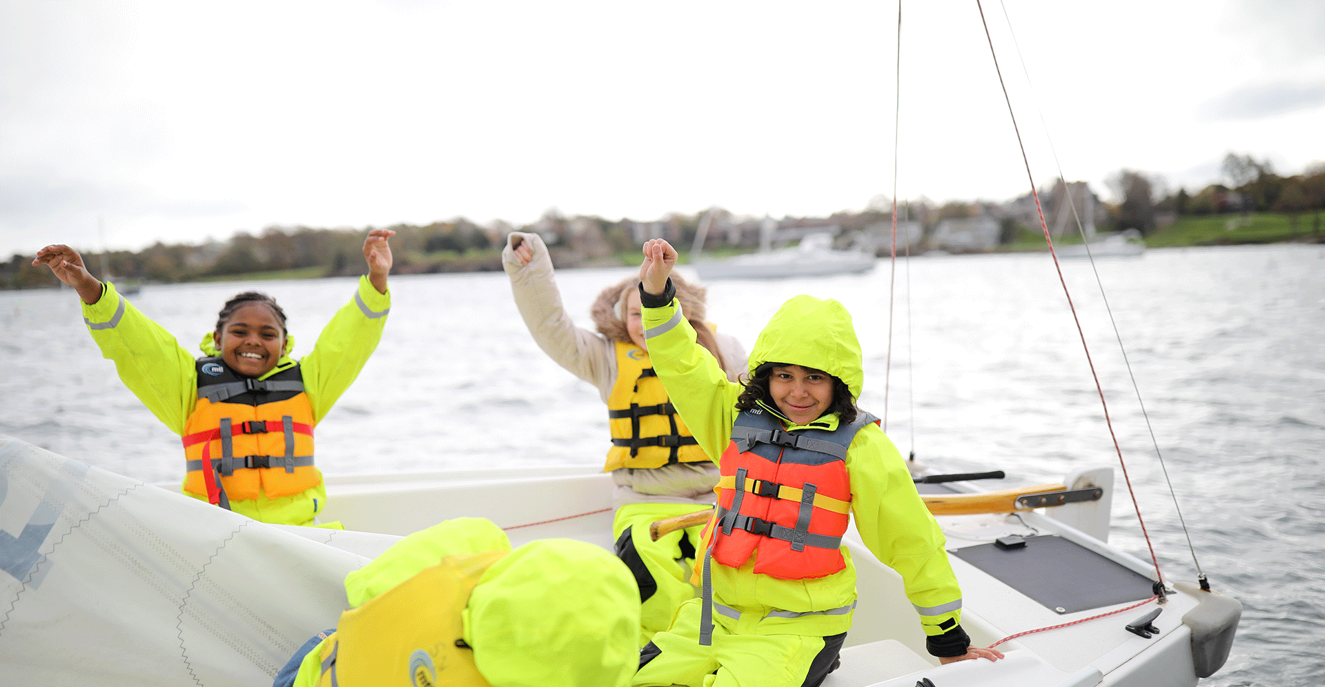 4th Grade Students from Pell Elementary School preparing to set sail in the J/22 at Sail Newport © Maaike Bernstrom