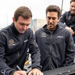 Charlie Enright and Mark Towill sign 11th Hour Racing Team's Sustainability Policy.