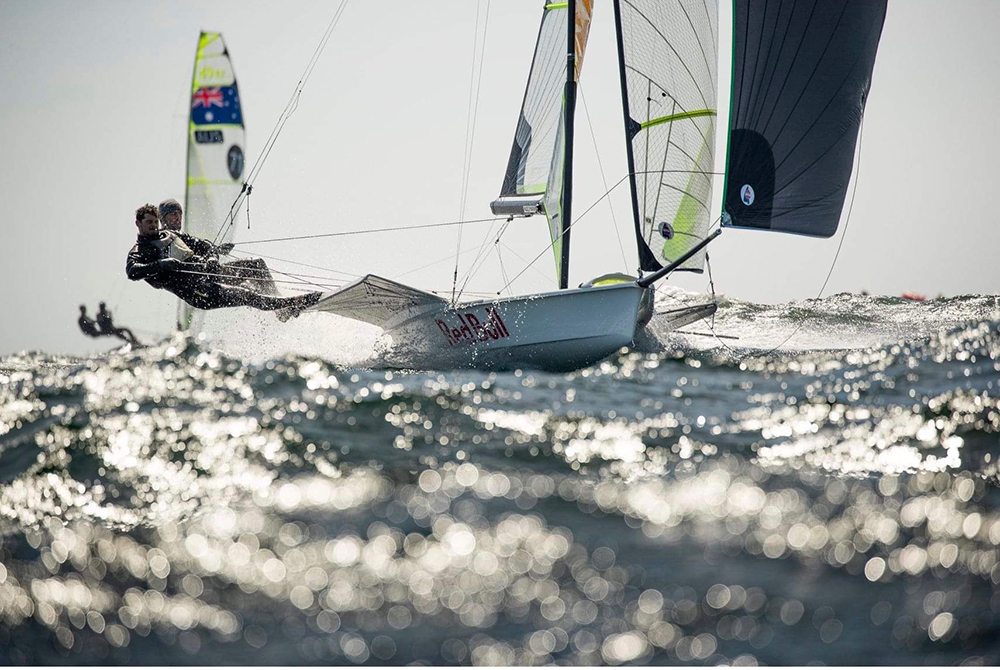 Yago sailing with his brother Klaus in the 2019 49er Europeans in Weymouth, U.K. Photo credit: Jesus Renedo | Sailing Energy