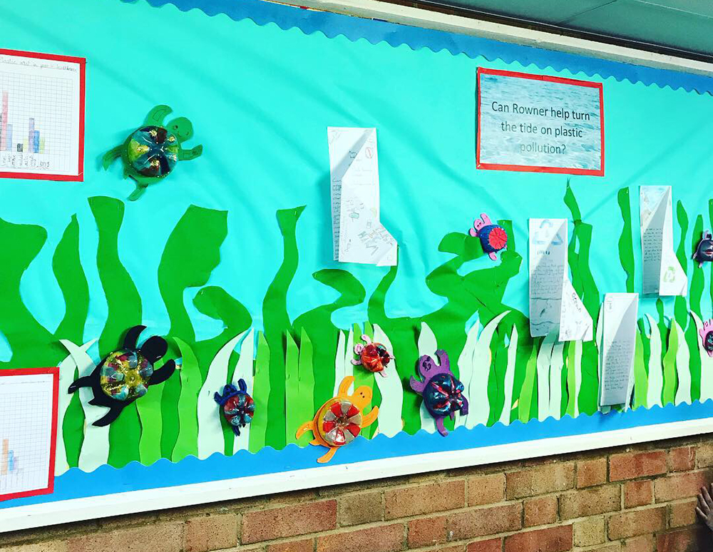 Display to educate students about plastic pollution during the 8th of May Plastic-Free Day in 2019. Credit: The Final Straw Solent