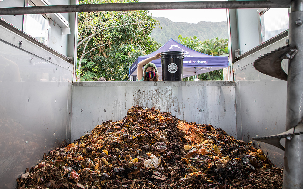 Sustainable Coastline Hawai'i's composting system is fully contained so it can be used in urban environments. It can process up to 1,000 pounds of food waste per day and creates a soil amendment in 2-3 weeks. Photo credit: Rafael Bergstrom | Sustainable Coastlines Hawaii 2021