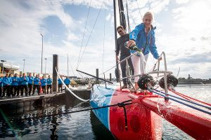 Philanthropist and 11th Hour Racing's co-founder Wendy Schmidt christened 11th Hour Racing Team's new offshore racing yacht today in France. © Vincent Curutchet / 11th Hour Racing